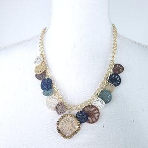 Multi Tone Coin Style Fashion Necklace